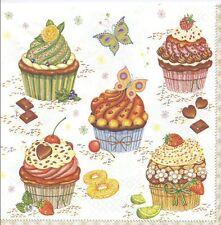 2 Serviettes en papier Pâtisserie Cupcakes Decoupage Paper Napkins Cakes