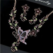 ANTIQUE TONE PURPLE AND GREEN CRYSTAL &  BUTTERFLY  NECKLACE  EARRINGS SET