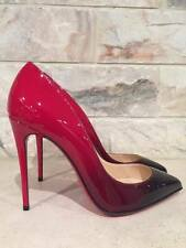 NIB Christian Louboutin Pigalle Follies 100 Patent Red Black Degrade Pumps 35