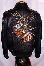 "*NEW* AVIREX & ED HARDY ""EAGLE & SNAKE"" BLACK LEATHER Jacket**L**$900***NEW!"