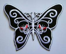 SKULLS BUTTERFLY GOTHIC PUNK ROCK Embroidered Iron on Patch Free Postage