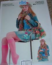 Original Elle Pizzazz & DK Knit Pattern Girls/Ladies Hat Scarf Belt & Handbag
