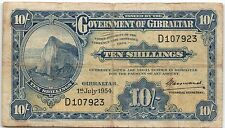 GOVERNMENT OF GIBRALTAR 10 SHILLINGS 1954 (1.07.1954) USED BANKNOTE - b15!