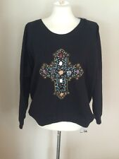 NWT CHA SOR Stone & Bead Embellished Cross Scoop Neck Sweatshirt Sz L NEW