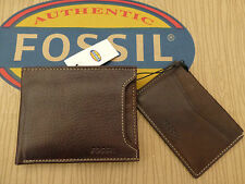FOSSIL 2in1 Card Holder Wallet LINCOLN Brown Leather Wallets in Gift Tin BNIB
