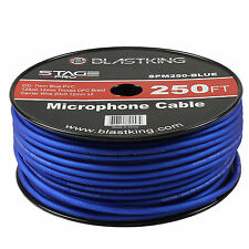Blastking 2 Conductor OFC Microphone Mic Cable 250' Ft Blue Bulk -SPM250-BLUE