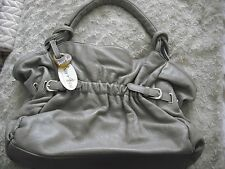 BNWT Barr and & Barr grey taupe beige real genuine leather bag handbag purse
