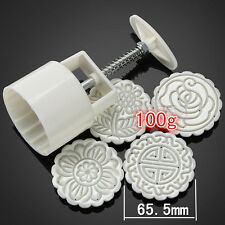 Gourmet Tools 1 sets Moon Cake round Mold One  Barrel 100g  4 Stamps figure