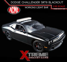 ACME A1806008 1:18 DODGE CHALLENGER SRT8 BLACKOUT CHASE CAR W/ LED LIGHTBAR