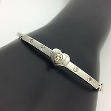 14K WHITE GOLD DIAMOND HEART BANGLE BRACELET