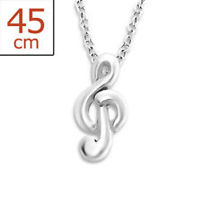 925 Sterling Silver Treble Clef Pendant Necklace Music Note G Clef Minimalist