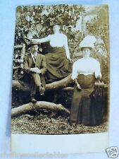RPPC OR MAN LADY'S Lg HATS PERIOD CLOTHING REAL COUNCIL CREST ORE PHOTO POSTCARD