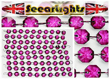 90 CHANDELIER DROPLETS 14mm CRYSTALS GLASS DROPS AUBERGINE GARLAND 1.8m BEADS