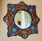 Beautifully Hand Painted Flower Mirror from Morocco * BURGUNDY*