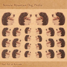 Bernese Mountain Dog,  Set of 24 Dog Nail Art Stickers Decals, profile, Bernie,