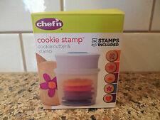 Chef'n Cookie Stamp and Cutter Set Five Shapes Flower Butterfly Crown Heart Star