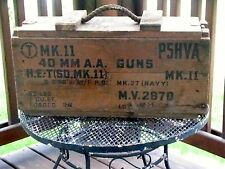 VINTAGE WOODEN AMMO BOX WW2 U.S.A. NAVY 1944 AMERICAN MILITARY WAR COLLECTOR BOX