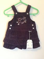 Weekend A La Mer Designer Baby Cord Pinafore Dress Size 6 Months Purple Bnwt