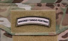 WHISKY TANGO FOXTROT Tab Patch Multicam US Army Velcro Morale Patch Afghanistan
