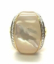 Sterling Silver Gold Tone Cabochon Mother Of Pearl Dotted Border Cocktail Ring 7