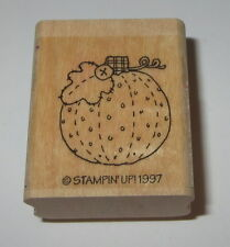 Pumpkin Stampin' Up! Rubber Stamp Halloween Button Quilted Leaf Stem Retired
