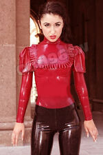 100% Latex Rubber Maid Servant Shirt Coat Top Jacket Blouse Ruffle Catsuit Suit