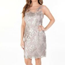 Adrianna Papell Cashmere Beige Sequin V Neck Cocktail Dress 14P NWT $170