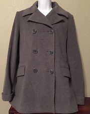 Esprit Pea Coat Gray Wool Womens Size Large