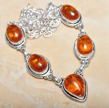 "Handmade Baltic Faux Amber Gemstone 925 Sterling Silver Necklace 21"" #N00653"