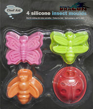 Silicone Mould Insect Cake Jelly Chocolate Mould X 4 Butterfly Ladybird Chef Aid