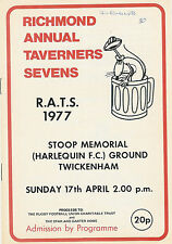 RICHMOND TAVERNERS  RUGBY SEVENS PROG 17 Apr 1977 Bishop's Finger, Smithfield