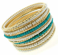 Cable Cabo Twisted Gold Tone Seed Bead Turquoise White Bangle Bracelet Set of 15