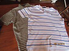 2 - men size M POLO by Ralph Lauren Shirts Sage Green White Stripe Pale Blue