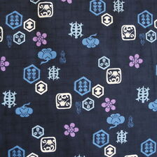 Turtle Ume Navy Japanese Dobby Cotton Fabric Per 50cm Half Metre CF2