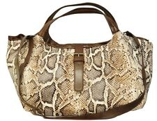 Langellotti Italy Large Tote Shopper Shoulder Bag Reptile/Brown Nwt