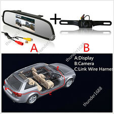 "12V 120° IR Car Reverse Parking Backup Camera & 4.3"" Rearview Mirror Monitor Kit"
