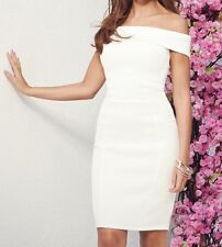 BNWT Lipsy Michelle Keegan Size 12 White Bardot Textured Bodycon Dress New Party