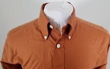 Men's ORVIS Button Front L/S Casual Shirt Dark Orange Houndstooth Size Small