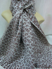 LEOPARD PRINT PASHMINA SCARF SHAWL WRAP COLOR CHOCOLATE