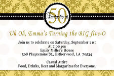 30 Damask Birthday Invitation Lady Men 50th Party Invites Gold and Black D1
