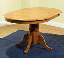 Round Oval Dining Room Table w/ Leaf Oak Country Farmhouse Pedestal Kitchen Wood