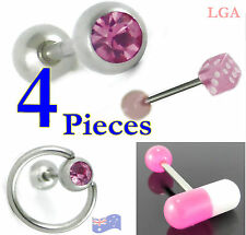 4 Tongue Bars Bolts Rings Barbells Body Piercing PINK Dice Pill Slave Gem 1 each