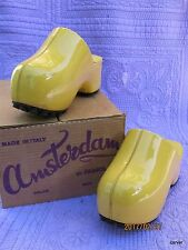 Rare Vintage Famolare Amsterdam Clogs Yellow Patent Size 5 with Original Box