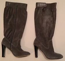 MK Michael Koors Gray/Grey Suede/leather Tall Zipper/Button Boots, vintage