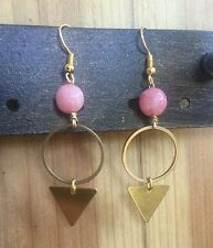 Anthropologie Pink Jade Gemstone Brass Triangle Circle Gold Hook Dangle Earrings
