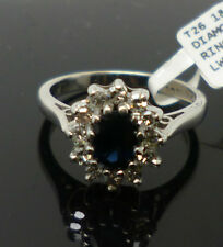 18ct white gold sapphire & diamond cluster ring with '18ct' stamp  DHM T26