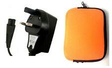 3 Pin del Reino Unido rápida Cargador Cable De Alimentación Para Philips Afeitadora hq7360 + Viaje Gratis Funda