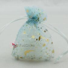 """25 x Gold Star Moon Aqua 7x9cm 2.7""""x3.7"""" Organza Wedding Gift Pouches Bags"""