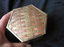 VINTAGE UNUSUAL SMALL POT & LID WITH COPPER & BRASS LATTICE WORK OUTER 4""