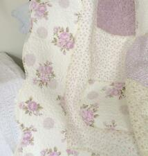 King Single Bed Quilt Bedspread Cream Lavender Patchwork Kids Cottage Girls Set